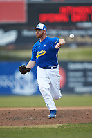 Mars Hill Lions relief pitcher Brad Dzeskewicz (36) delivers a pitch to the plate against the Queens Royals at Intimidators Stadium on March 30, 2019 in Kannapolis, North Carolina. The Royals defeated the Bulldogs 11-6 in game one of a double-header. (Brian Westerholt/Four Seam Images)