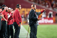 LOS ANGELES, CA - SEPTEMBER 11: Bobby Kennedy, David Shaw during a game between University of Southern California and Stanford Football at Los Angeles Memorial Coliseum on September 11, 2021 in Los Angeles, California.