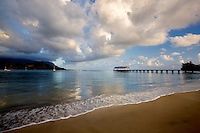Sunrise with pier at Hanalei Bay, Kauai, Hawaii