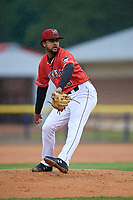 Batavia Muckdogs relief pitcher Jeremy Ovalle (19) during a NY-Penn League game against the Auburn Doubledays on June 15, 2019 at Dwyer Stadium in Batavia, New York.  Batavia defeated Auburn 7-5.  (Mike Janes/Four Seam Images)
