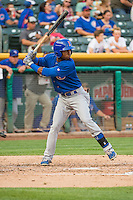 Arismendy Alcantara (3) of the Iowa Cubs at bat against the Salt Lake Bees in Pacific Coast League action at Smith's Ballpark on August 21, 2015 in Salt Lake City, Utah. The Bees defeated the Cubs 12-8.  (Stephen Smith/Four Seam Images)