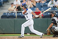 Chris Mariscal #16 of the Everett AquaSox at bat during a game against the Salem-Keizer Volcanoes at Everett Memorial Stadium in Everett, Washington on July 9, 2014.  Salem-Keizer defeated Everett 6-4.  (Ronnie Allen/Four Seam Images)