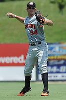 Hagerstown Suns Bryce Harper #34 warms up in the outfield before a game against the Kannapolis Intimidators at Fieldcrest Cannon Stadium in Kannapolis,  North Carolina;  May 30, 2011.  The Intimidators won the game 3-0.  Photo By Tony Farlow/Four Seam Images