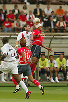 Jeff Agoos goes up for a header. The USA tied South Korea, 1-1, during the FIFA World Cup 2002 in Daegu, Korea.