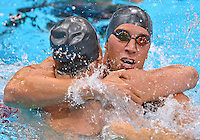 July 30, 2012..Matt Grevers and Nick Thoman embrace after they capturing  Gold and Silver Medal in Men's 100m Backstroke Final at the Aquatics Center on day three of 2012 Olympic Games in London, United Kingdom.