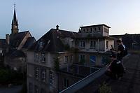 """Das ehemalige St. Josefsheim Waldniel-Hostert, Fuehrung durch das Heim mit der Kentschool Security Group, [das Josefsheim ist ein ehemaliges Franziskaner-Heim fuer Kinder mit Behinderung, nach 1937 war es die Kinderfachabteilung der Provinzial Heil- und Pflegeanstalt, in dieser Zeit wurden ca. 100 Kindern mit Behinderung durch die Nationalsozialisten ermordet, von 1963 bis 1991 britische Kent-School], heute leerstehende Ruine, [Treffpunkt fuer """"Geisterjaeger""""], Nacht, Nachtaufnahme, unheimlich, gruselig, lost place, lost places, moderne Ruine, Grundstueck, Gebaeude, Fassade, aussen, Fotograf, Photographen, Verfall, verfallen, Gedenkstaette, Euthanasie, Kindereuthanasie, Naziverbrechen, Verbrechen, Behinderung, Nationalsozialismus, Nazi-Zeit, Drittes Reich, Geschichte, Historie, Josefs-Heim, Europa, Deutschland, Nordrhein-Westfalen, Viersen, Schwalmtal, 08/2013<br /> <br /> Engl.: Europe, Germany, North Rhine-Westphalia, Viersen, Schwalmtal, former St. Josefsheim Waldniel-Hostert, guided tour through the home with the Kentschool Security Group, building, exterior view, ruin, night, memorial site, euthanasia, mercy killing, crime, disability, National Socialism, Third Reich, history, the Josefsheim is a former home managed by Franciscan monks for disabled children, after 1937 the National Socialists killed approx. 100 disabled children there, from 1963 - 1991 British Kent-School, August 2013"""
