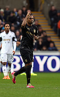 Wednesday, 01 January 2014<br /> Pictured: Fernandinho of Manchester City celebrating his opening goal.<br /> Re: Barclay's Premier League, Swansea City FC v Manchester City at the Liberty Stadium, south Wales.