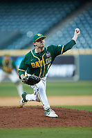 Baylor Bears relief pitcher Ryan Leckich (10) delivers a pitch to the plate against the LSU Tigers in game five of the 2020 Shriners Hospitals for Children College Classic at Minute Maid Park on February 29, 2020 in Houston, Texas. The Bears defeated the Tigers 6-4. (Brian Westerholt/Four Seam Images)