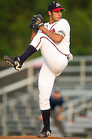 Danville Braves starting pitcher Sergio Valenzuela winds up to deliver the ball to the plate versus the Greeneville Astros at American Legion Field in Danville, VA, Saturday, July 1, 2006.