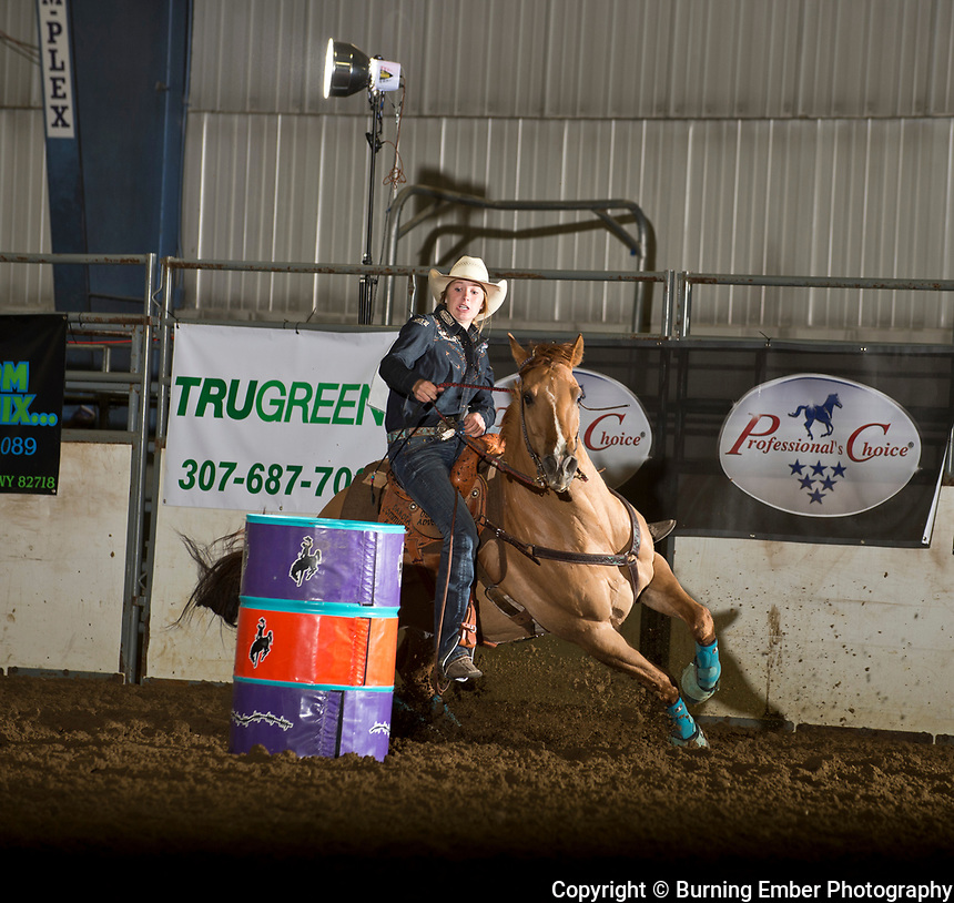 Jacey Thompson in the Barrel event 1st go at the Gillette Wyoming High School Rodeo May 13th 2017.  Photo by Josh Homer/Burning Ember Photography.  Photo credit must be given on all uses.