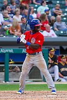 Buffalo Bisons outfielder Jonathan Davis (2) at bat during an International League game against the Indianapolis Indians on July 28, 2018 at Victory Field in Indianapolis, Indiana. Indianapolis defeated Buffalo 6-4. (Brad Krause/Four Seam Images)