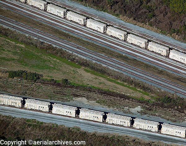 aerial photograph CSX rail road cars Tampa, Florida