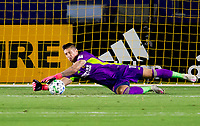 CARSON, CA - SEPTEMBER 19: David Bingham #1 GK of the Los Angeles Galaxy saves a ball during a game between Colorado Rapids and Los Angeles Galaxy at Dignity Heath Sports Park on September 19, 2020 in Carson, California.