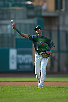 Fort Wayne TinCaps shortstop Tucupita Marcano (15) warms up prior to the starts of the game against the West Michigan Whitecaps at Parkview Field on August 5, 2019 in Fort Wayne, Indiana. The TinCaps defeated the Whitecaps 9-3. (Brian Westerholt/Four Seam Images)