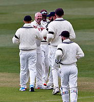 Darren Stevens (facing) celebrates taking the wicket of Tom Kohler-Cadmore during Kent CCC vs Yorkshire CCC, LV Insurance County Championship Group 3 Cricket at The Spitfire Ground on 15th April 2021
