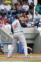Christopher Shaw (43) of the Salem-Keizer Volcanoes bats during a game against the Hillsboro Hops at Ron Tonkin Field on July 26, 2015 in Hillsboro, Oregon. Hillsboro defeated Salem-Keizer, 4-3. (Larry Goren/Four Seam Images)