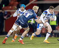12th February 2021; AJ Bell Stadium, Salford, Lancashire, England; English Premiership Rugby, Sale Sharks versus Bath; Ben Spencer of Bath Rugby is tackled by Jean-Luc du Preez of Sale Sharks