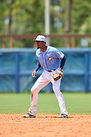 FCL Rays shortstop Willy Vasquez (96) during a game against the FCL Twins on July 20, 2021 at Charlotte Sports Park in Port Charlotte, Florida.  (Mike Janes/Four Seam Images)