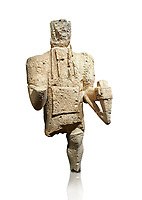 9th century BC Giants of Mont'e Prama  Nuragic stone statue of an archer, Mont'e Prama archaeological site, Cabras. Museo archeologico nazionale, Cagliari, Italy. (National Archaeological Museum) - White Background