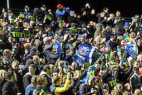 Fans celebrate a try during the LV= Cup semi final match between Bath Rugby and Leicester Tigers at The Recreation Ground, Bath (Photo by Rob Munro, Fotosports International)