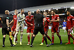06.02.2019:Aberdeen v Rangers: Aberdeen players surround Bobby Madden and his assistant