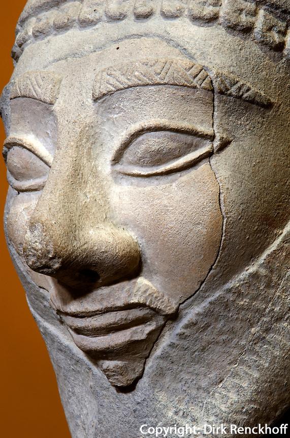 Nationalmuseum in Nicosia (Lefkosia), Figur aus Tamassos aus Kakstein, 550-500 v.Chr., Zypern (Süd)