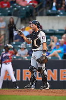 Tri-City ValleyCats catcher Anthony Hermelyn (7) during a game against the Aberdeen Ironbirds on August 6, 2015 at Ripken Stadium in Aberdeen, Maryland.  Tri-City defeated Aberdeen 5-0 in a combined no-hitter.  (Mike Janes/Four Seam Images)