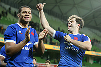 13th July 2021; AAMI Park, Melbourne, Victoria, Australia; International test rugby, Australia versus France; Damian Penaud of France (R) celebrates by 26-28 points