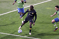 COLUMBUS, OH - DECEMBER 12: Gyasi Zardes #11 of the Columbus Crew plays the ball during a game between Seattle Sounders FC and Columbus Crew at MAPFRE Stadium on December 12, 2020 in Columbus, Ohio.