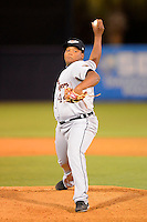 Lakeland Flying Tigers pitcher Melvin Mercedes #44 during a game against the Tampa Yankees at Steinbrenner Field on April 6, 2013 in Tampa, Florida.  Lakeland defeated Tampa 8-3.  (Mike Janes/Four Seam Images)