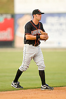 Shortstop Gary Helmick #6 of the Delmarva Shorebirds on defense against the Kannapolis Intimidators at Fieldcrest Cannon Stadium May 14, 2010, in Kannapolis, North Carolina.  Photo by Brian Westerholt / Four Seam Images