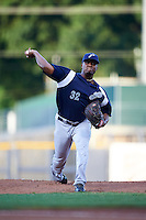 Pensacola Blue Wahoos pitcher Keyvius Sampson (32) delivers a pitch during a game against the Mississippi Braves on May 27, 2015 at Trustmark Park in Pearl, Mississippi.  Pensacola defeated Mississippi 7-5 in fourteen innings.  (Mike Janes/Four Seam Images)