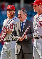 26 September 2018: Washington Nationals Max Scherzer receives the Pitcher of the Year Award from MASN Reporter Mark Zuckerman prior to a game against the Miami Marlins at Nationals Park in Washington, DC. The Nationals defeated the visiting Marlins 9-3, closing out Washington's 2018 home season. Mandatory Credit: Ed Wolfstein Photo *** RAW (NEF) Image File Available ***