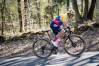 Sergio Higuita (COL/EF Education - Nippo) up the last climb of the day: the Côte de la Roche-aux-Faucons<br /> <br /> 107th Liège-Bastogne-Liège 2021 (1.UWT)<br /> 1 day race from Liège to Liège (259km)<br /> <br /> ©kramon