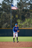 Joshua Mueller (17), from Stamford, Texas, while playing for the Dodgers during the Baseball Factory Pirate City Christmas Camp & Tournament on December 28, 2017 at Pirate City in Bradenton, Florida.  (Mike Janes/Four Seam Images)