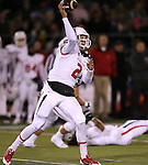 Fresno State's Brian Burrell throws against Nevada in the first half of an NCAA college football game in Reno, Nev., on Saturday, Nov. 22, 2014. Fresno State won 40-20. (AP Photo/Cathleen Allison)