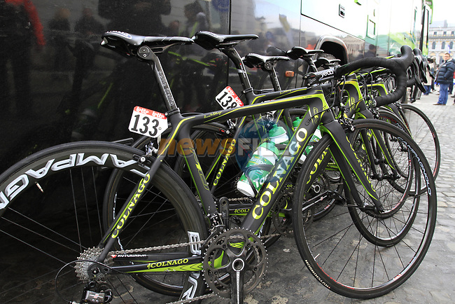 Team Europcar Colnago bikes lined up outside the team bus before the start of the 98th edition of Liege-Bastogne-Liege outside the Palais des Princes-Eveques, running 257.5km from Liege to Ans, Belgium. 22nd April 2012.  <br /> (Photo by Eoin Clarke/NEWSFILE).