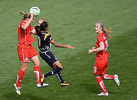 Washington Freedom's Cat Whitehill battles LA Sol's Marta. The LA Sol defeated the Washington Freedom 2-0 in the opening game of Womens Professional Soccer at Home Depot Center stadium on Sunday March 29, 2009.  .Photo by Michael Janosz