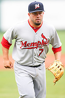 Zack Cox (7) in action during the MiLB matchup between the Memphis Redbirds and the Oklahoma City Redhawks at Chickasaw Bricktown Ballpark on April 8th, 2012 in Oklahoma City, Oklahoma. The Redhawks defeated the Redbirds 8-1  (William Purnell/Four Seam Images)