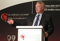 Andre Bourbonnais, Investissements PSP, deliver a speech to the Canadian Club of Montreal ,Monday, April 11, 2016.<br /> <br /> Photo : Pierre Roussel<br />  - Agence Quebec Presse<br /> <br /> <br /> <br /> <br /> <br /> <br /> <br /> <br /> <br /> <br /> <br /> .