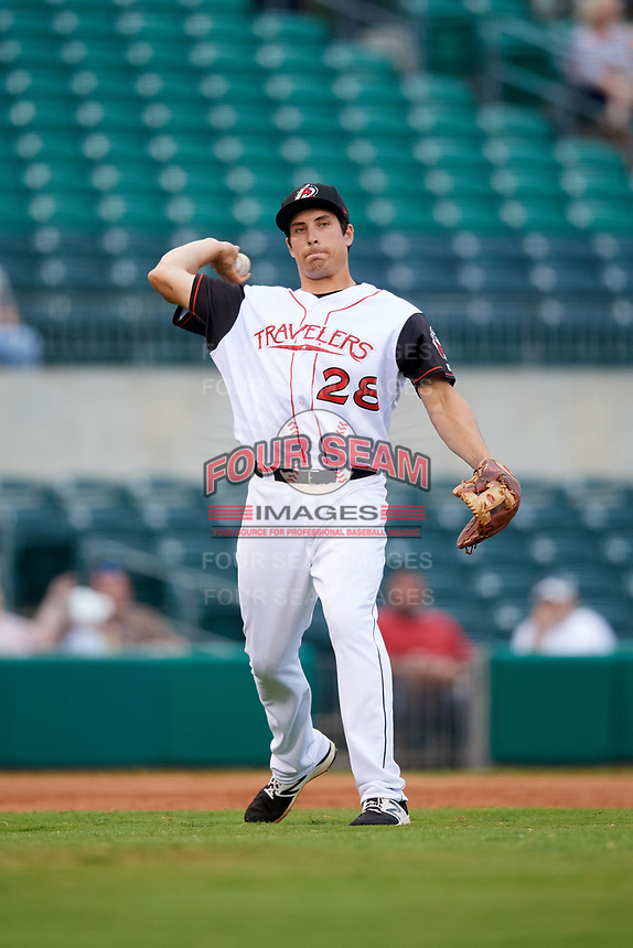 Arkansas Travelers third baseman Seth Mejias-Brean (28) throws to first base during a game against the Frisco RoughRiders on May 26, 2017 at Dickey-Stephens Park in Little Rock, Arkansas.  Arkansas defeated Frisco 4-2.  (Mike Janes/Four Seam Images)