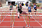 SPEARFISH, SD -- April 04, 2008: Shannon Hellman of Black Hills State cruises to an easy win in the women's 100-meter hurdles  during the Black Hills State University Frostbite Invitational college track and field meet Friday, April 4, 2008 at Lyle Hare Stadium in Spearfish. (Photo by Jeff Easton/Inertia)