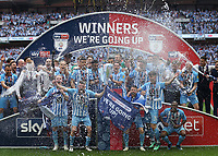 28th May 2018, Wembley Stadium, London, England;  EFL League 2 football, playoff final, Coventry City versus Exeter City; Michael Doyle of Coventry City lifts the EFL League 2 trophy