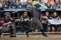Vanderbilt Commodores designated hitter Ro Coleman (1) swings the bat during the NCAA College baseball World Series against the Cal State Fullerton Titans on June 14, 2015 at TD Ameritrade Park in Omaha, Nebraska. The Titans were leading 3-0 in the bottom of the sixth inning when the game was suspended by rain. (Andrew Woolley/Four Seam Images)