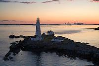 Sunset at Boston lighthouse, aerial, Boston, MA Little Brewster Island