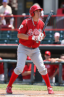 Reading Phillies second baseman Niuman Romero #21 during a game against the Erie Seawolves at Jerry Uht Park on May 29, 2011 in Erie, Pennsylvania.  Erie defeated Reading 6-5 in ten innings.  Photo By Mike Janes/Four Seam Images