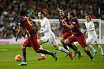 Real Madrid´s Gareth Bale (C) and Barcelona´s Sergi Roberto and Sergio Busquets during 2015-16 La Liga match between Real Madrid and Barcelona at Santiago Bernabeu stadium in Madrid, Spain. November 21, 2015. (ALTERPHOTOS/Victor Blanco)