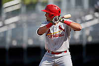 Johnson City Cardinals first baseman Dariel Gomez (25) at bat during the first game of a doubleheader against the Princeton Rays on August 17, 2018 at Hunnicutt Field in Princeton, Virginia.  Johnson City defeated Princeton 6-4.  (Mike Janes/Four Seam Images)
