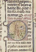 Missal of Sant Cugat del Vallès. s.XV. Saint John the Baptist. Catalan school. Gothic art. Miniature Painting. SPAIN. Barcelon