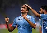 Calcio, Serie A: Lazio vs Udinese. Roma, stadio Olimpico, 13 settembre 2015.<br /> Lazio's Alessandro Matri celebrates after scoring his second goal during the Italian Serie A football match between Lazio and Udinese at Rome's Olympic stadium, 13 September 2015.<br /> UPDATE IMAGES PRESS/Isabella Bonotto